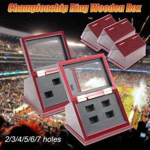 DropShip Qualität 1/2/3/4/5/6/7 Holes Championship Ring aus Holz Display-Kasten-freies Verschiffen