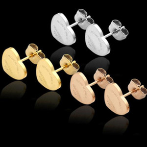 Not Faded 1CM Top Quality Stainless Steel Studs Gold Silver Rose Colors Love Heart Stud earrings For Women Party Gift Earrings wholesale