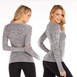 016 Yoga Servir lu T-shirt femme araignée manches longues Major culturisme Servir auto-culture Veste ventilation de Split Joint