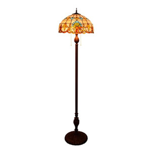 Tiffany Candeeiros Tiffany-Style Luz barroco Retro Flower Floor Lamp Quarto Sala de Estudo Sala Pavimento Luz
