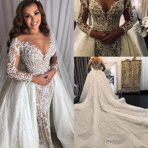 2020 Elegante Naher Osten Mermaid Brautkleider mit Overskirt abnehmbarem Zug lange Hülsen-Spitze Prickelnde Perlen arabische Prinzessin Brautkleid