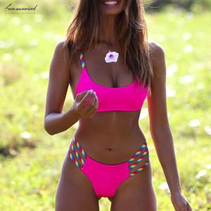 2020 Sexy Brazilian Swimsuit Female Neon Pink Bikini Bandage Swimwear Women Bathers Push Up Bathing Suit Two Piece Suit Xl