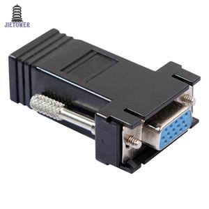 300 adet / grup VGA Genişletici Adaptörü Kadın Lan Cat5 Cat5e / 6 RJ45 Ethernet Adaptörü Bağlanır VGA kadın RJ45 kadın Siyah