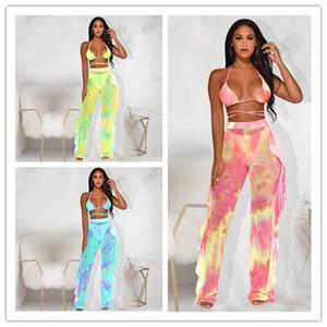 Donne Tie Dye due pezzi Outfits Designer Galaxy Stampa Swimsuit Mesh bikini See-through Halter Bra Tops Ruffles giunzione Pantaloni Costumi da bagno WF629