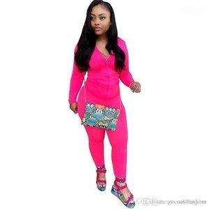 Designer con cappuccio signore 2PC insieme casuale Panelled allentato femminile Abbigliamento con Pocket Primavera Pure Color donne tute sportive