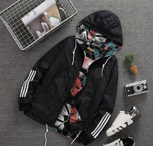 Весна осень новый человек женский спортивный пиджак Цветочный печати с капюшоном куртки Мужчины Мода Тонкие Ветровка Открытый двухсторонняя молния Coats