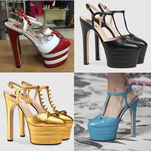 Venta caliente-Metallic Studded Snake Leather Platform Pumps Mujeres Sexy T-correa Gladiador Sandalias Diseñador Remaches Zapatos de boda zapatos de tacón alto