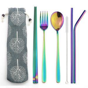 6 unids / set Reutilizable Rainbow 304 de acero inoxidable de paja de metal portátil tenedor palillos vajilla conjunto para viajes vajilla al aire libre con bolsa