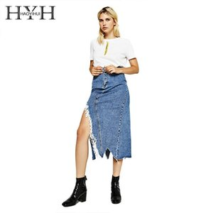 HYH HAOYIHUI Asymmetrical With A Slit Jean Skirt Casual Mid Calf Empire Individual Autumn For Women 2018 New Arrival