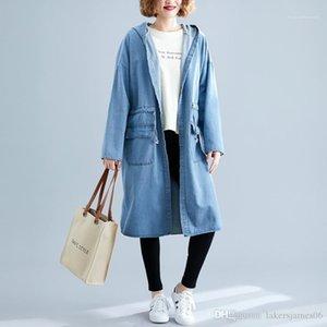 Moda grandes bolsos Designer Jean capuz Casacos fêmeas Womens Vintage Clothing cintura elástica Único Breasted Jean Trench Coats