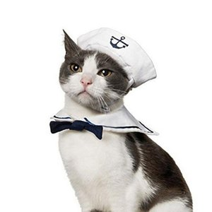 2018 Lovely Stylish Navy And Sailor Style Hat Plus Scarf Suit For Dogs And Cats Pet Cap And Cape Navy Cloak