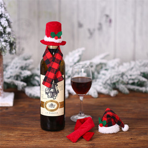 Hot Christmas creative decoration wine bottle scarf hat two piece set red wine bottle set hotel restaurant decoration T3I5485