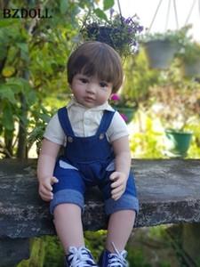 """60cm Reborn Toddler Boy Doll Silicone Vinyl Limbs 24"""" Cute Baby Doll Cloth Body Birthday Gift Girls Play House Boneca Y191213"""