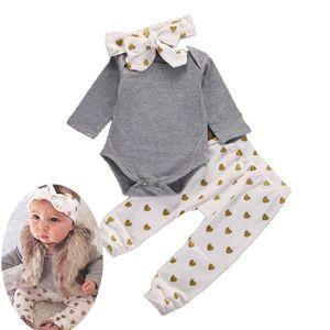 День святого Валентина наряды новорожденный мальчик сплошной серый комбинезон белое сердце печати брюки оголовье наряды набор