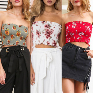 Mulheres Elastic Tops Tanques Strapless Top Curto shirt roupas Mulheres Sexy Vestuário Tops Alças