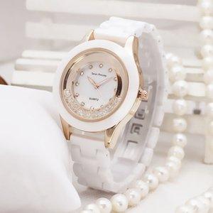 Lüks Moda Bayan İzle Elbise Seramik Bayanlar İzle Beyaz Basit Kuvars Saatı Öğrencileri Hediyeler Saat Relogio Feminino Y19062402