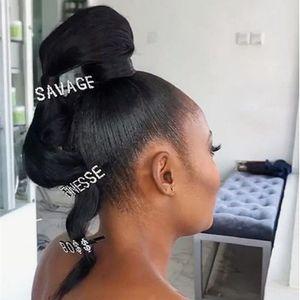 Популярный Дизайн SAVAGE FINESSE Rhinestone Bling Письмо Шпилька для клипов Женщины Уникального Слово Кристалла волос Украшения для волос