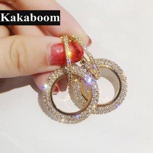 Kakaboom المرأة بلينغ بلينغ الكريستال كامل دائرة مزدوجة هوب الأقراط الأزياء والمجوهرات الأنيقة أنيقة النبيلة نوبل هوب الأقراط