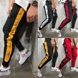 gging Pantalon rayé pour les hommes Sport Sweatpants Pantalons Courir GYMNASE Pantalons Hommes Coton Trackpants Fitness Jogger culturisme pantalon