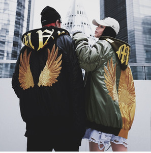 oversize men's hip hop wind flight jacket hat letter print back embroidery wings thickening patchwork hooded cotton jacket