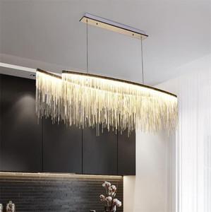 Grande tessuto pendente illuminanti in alluminio a catena nappa luci del pendente fresco da mensa Art Luxucy Lamp