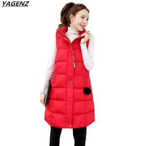 2017 inverno con cappuccio medio lungo verso il basso gilet di cotone tuta sportiva Donna Casual Top spesso caldo di grandi dimensioni femminile giacca di cotone YAGENZ