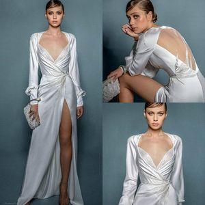 2020 Sexy High Side Split Свадебные платья Линия V Neck Бисероплетение Bohemian свадебное платье с длинным рукавом Длина пола Элегантный Vestidos De Novia 755