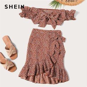 Shein atado shirred Floral Bardot Top E Ruffle Enrole Skirt Set Boho Rust assimétrica Alças Set Pedaço Verão Mulheres Two