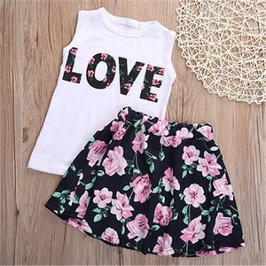 Girls Casual Dress Letter White Vast Tops Floral Short Pants Girls Fashionable Kids Summer Clothing Set Costume Suit
