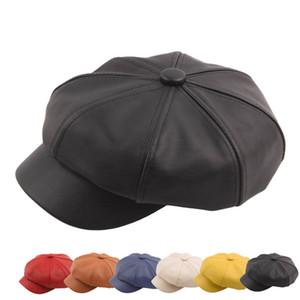 Leather octagonal cap Autumn Winter Collage Vintage Hat Fashion Painter Hat Solid Color Beret czapka zimowa #35