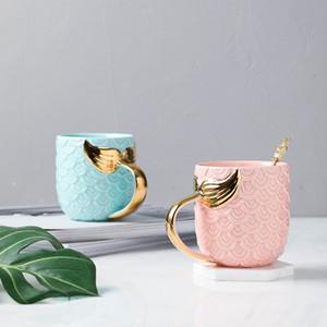 Sirena taza de café creativa de cerámica de la manija de la Copa Con Oro para preparar té café Leche Inicio Regalo Tazas HHA1061