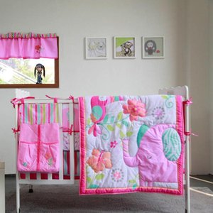 8pcs Baby Bedding Set for Girls Pink Elephant -comforter, crib sheet, crib skirt,bumpers and nappy stacker 2020 New design