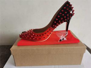 Freies Verschiffen Nude Patentleder Niete Spikes Gifte Zehen High Heels Schuhe Frauen Dame Echtes Leder Hochzeit Schuhe Pumps Vielfalt der Farbe