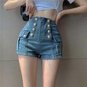 Women's jeans 2020 summer new personality button high waist bag hip pants slim denim shorts hot pants tide
