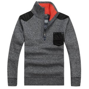 Big Tamanho 3XL quente grossa de veludo suéteres de cashmere Homens Winter capuz Zipper Mandarim Man Collar roupa ocasional Padrão Knitwear
