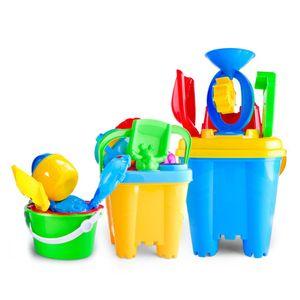 6 7pcs Novelty Mini Beach Toys Set Sand Pails Bucket with Shovel Rake Summer Pool Beach Sand Play Toys Gift for Children Kids