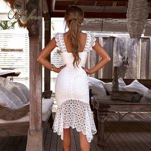 Ordifree 2020 Summer Women White Lace Party Dress Spaghetti Strap Elegant Lady Sleeveless Sexy Bodycon Long Dress Y200623