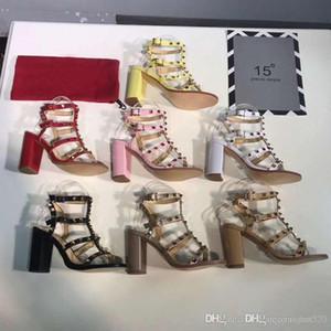 Rebite sandálias mulher Designer de Marca de couro de Alta sapatos de salto alto banquete Sexy festa de praia sapatos de Casamento Slingback Bombas sandálias us11 42
