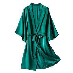 Мужские сонные одежды шелковый кимоно халат халат женские атласные халаты ночь сексуальный расти для подружек невесты летние плюс размер 521