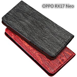 Bark Pattern Genuine Leather Flip Case For OPPO RX17 Neo Phone Case With Card Holder For OPPO RX17 Neo Phone Bag With Kickstand