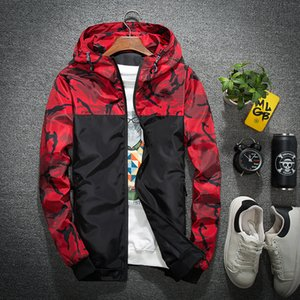 Floral Camo Jacket Autumn Mens Hooded Jackets Slim Fit Long Sleeve Homme Trendy Windbreaker Coat  Clothing Drop Shipping