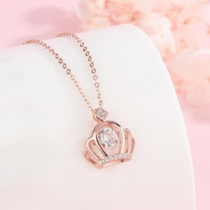 2020 sterling silver necklace female light luxury simple smart series 18K rose gold crown red pendant clavicle chain net