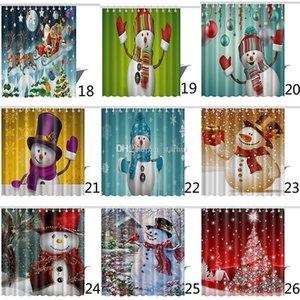 Natale Shower Curtain Babbo Natale del pupazzo di neve impermeabile 3D Stampato Bagno Doccia tenda della decorazione con ganci 165 * 180cm WX9-108