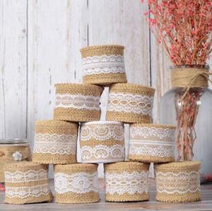 2M 5см Природные джута Мешковина ленты Сельский Урожай Декор Свадебный Hessian Lace джута Ролл Merry Christmas Party Supplies DIY