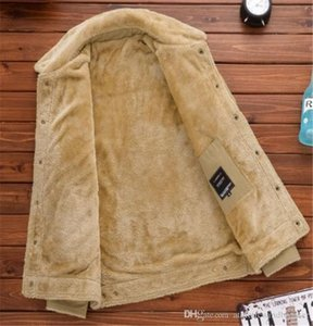 Мужчины Solid Color Добавить Бархатная куртка вскользь Mens отворотом шеи пальто Сыпучие Зимние погон Верхняя одежда Мода Бизнес Одежда