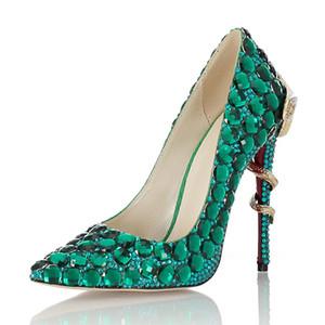 Pompe a mano da sposa strass verdi di pecora di vestito di cuoio punta a punta inferiori rosse di design di lusso scarpe da sposa 11cm formato 35-41