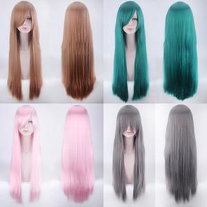 Длинные шелковистые прямые Парики 30 цветов Мода дамы полный шнурок парики Топ температуры волокна Женщины Cosplay Средний Челка Trend Головных уборов