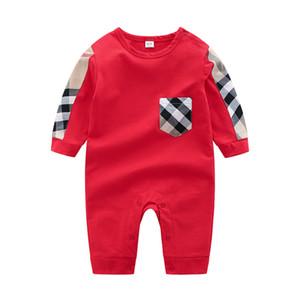 Yenidoğan Bebek tulum 2019 bahar yeni stil INS uzun kollu o-boyun yüksek kalite pamuk çocuk boys giyim dış giyim ekose romper
