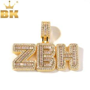 Bling Palabras collar colgante personalizado REY helado circón cúbico Pequeño baguette iniciales cartas con la 4mm CZ Tenis joyería de la cadena