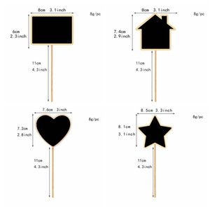 Star House Heart Shaped Chalkboard Sign Mini Wooden Blackboard Signs Garden Flowers Plants Tags Message Board Home Decoration DBC BH3666